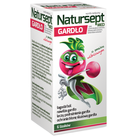 Natursept MED sore-throat lollipops, cherry flavored naturspet_lizaki